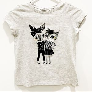 🎄5/$20 H&M Heather Gray Tee with Bunny and Kitty